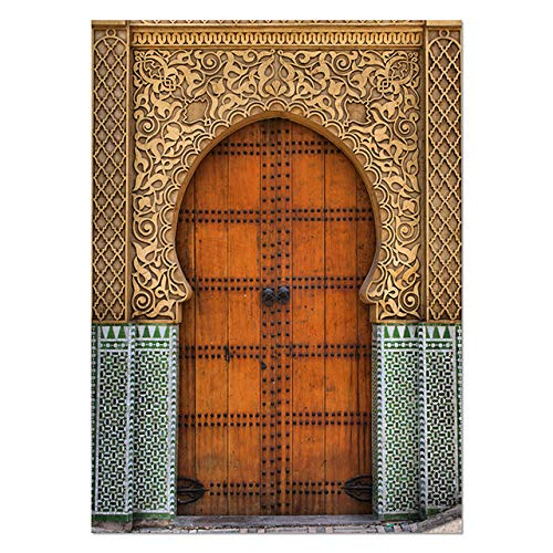 Tür Wandkunst Kalligraphie Leinwand keuchend Islamische Architektur Poster Druck Wandbilder Boho Dekor 60x80cm