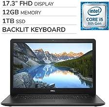 "Dell Inspiron 17 3780 2019 Premium 17.3"" FHD Laptop Notebook Computer, 4-Core Intel i5-8265U 1.6 GHz, 12GB RAM, 1TB SSD, Backlit Keyboard, DVD, Webcam, Bluetooth, Wi-Fi, HDMI, Windows 10"