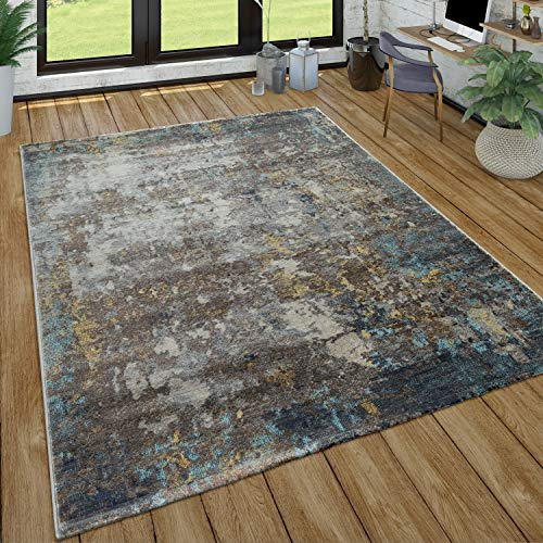 Paco Home Wohnzimmer-Teppich, Kurzflor Im Used Look, Modernes Design In Grau, Blau, Grau, Grösse:60x100 cm