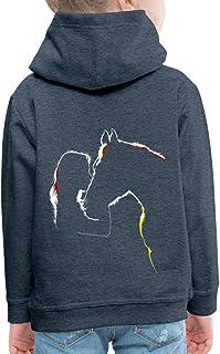 Spreadshirt Équitation Silhouette De Fille De Cheval Pull À Capuche Premium Enfant