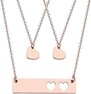 DYbaby Mother and Daughter Necklace Set Cutout Heart Bar Necklace and Heart Pendant Necklace Set Gifts for Mom and Babies