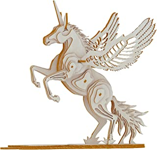 3D Wooden Puzzles Animal Laser Engraving DIY Safe Assembly Constructor Kit Toy for Teens and Adults Unicorn Mechanical 3-D Models for Self-Assembly (D3 Unicorn)