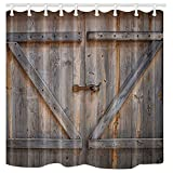 KOTOM Rustic Decor Shower Curtain, Rustic Wooden Barn Door, Polyester Fabric Bath Curtains Set with Hooks 69W X 70L Inches