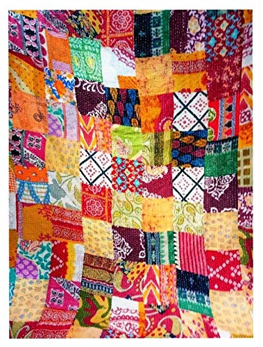 Yuvancrafts Kantha-Steppdecke, indisch, handgefertigt, Patchwork, Queen-Size-Größe, Vintage-Stil, Kantha-Überwurf, Gudari-Decke, Tagesdecke, Doppelbettdecke