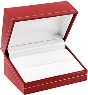 Dazzlingrock Collection Red Cartier Design Leatherette Red Gold Trim Velvet Inside Jewelry Engagement Set Double Ring Gift Box