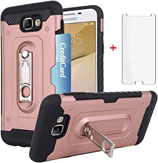 Samsung Galaxy J5 Prime Wallet Phone Case with Tempered Glass Screen Protector Credit Card Holder Slot Stand Kickstand Slim Full Body Hybrid Hard Protective Cover for J5Prime Girls Pink Rose Gold