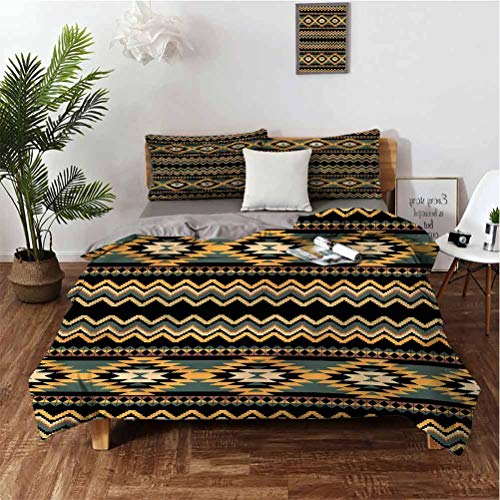 SUZM Aztec 3-Piece Set of 100% Washed Microfiber Geometric Indigenous Borders Suitable for Any Bedroom or Guest Room King(104'×90') Pillowcases 3620'