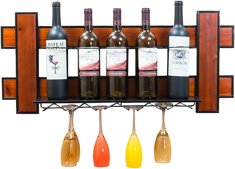 A-Fort W-1709 Rack Holder Estante para vinos Estante de Parojo de Madera Maciza Estilo Simple Decoración de Bar Cafetería Estante de Vidrio Colgante para Vino Estante para Vitrina