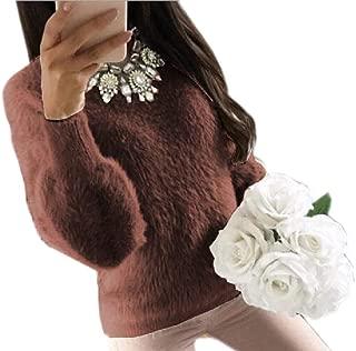 Women's Long Sleeve Sherpa Fleece Pullover Knit Sweater Fuzzy Outwears