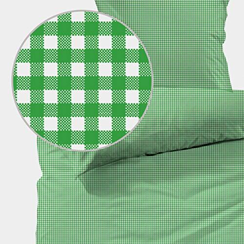 Seersucker Bettwäsche karo, Landhaus Grün, 100% Baumwolle, Bügelfrei, 135 x 200cm + 80 x 80cm, mit YKK-Qualitätsreißverschluss, kariert