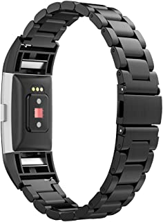 Simpeak Band Compatible with Fitbit Charge 2, Stainless Steel Band with Metal Adaptor Replacement for Fitbit Charge 2, Black