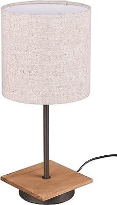 Trio Leuchten Elmau 502100130 Lampe de table en bois de pin avec abat-jour en tissu Beige/câble en tissu noir 1 ampoule E14 non incluse