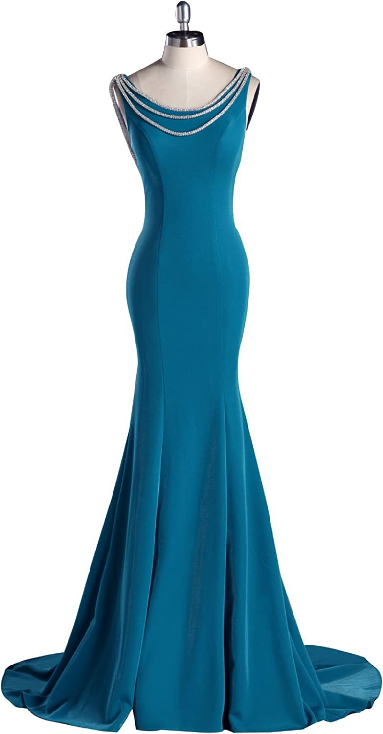 LISA.MOON Women's Scoop Neck Zipper Back Rhinestone Long Mermaid Evening Dress
