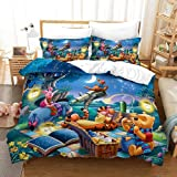Blue Whale Winnie The Pooh Single Duvet Cover Children Cartoon Pooh Bedding Set 2 Pieces Include 1 Duvet Cover & 1 Pillowcases Soft and Comfortable Cartoon Bedding for Kids (P05,Single 135x200cm)