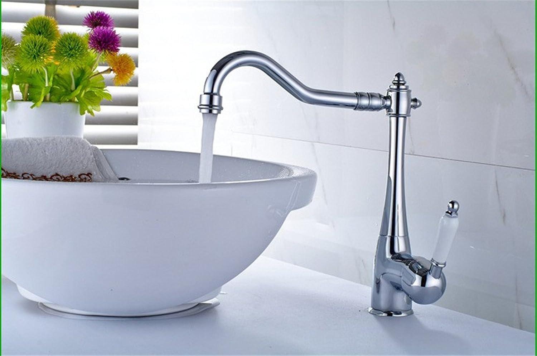 Küche mit herausziehbarer Dual-Spülbrauset Robinet européen cuivre placage chromé cuisine évier robinet salle de bains face bassin chaud et froid monotrou robinet robinet tournant