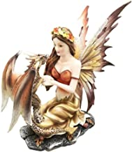 Ky & Co YesKela Beautiful Goddess Fairy with Pet Dragon Companion in Eden Garden Figurine Decor