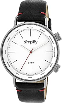 Simplify The 3300 Leather-Band Unisex Watch