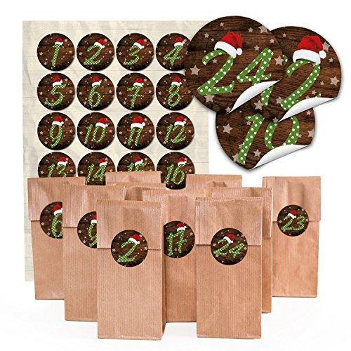 24 bruine papieren zakken met bodem en pergamijn inzetstuk (7 x 4 x 20,5 cm) en 24 ronde stickers 4 cm cijfers 1 ?24 groen gestippeld met rode muts voor leuke adventskalender zelf knutsel? Topkwaliteit.