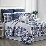 Amrapur Overseas Kira 8-Piece Embellished Comforter Set, King/California King, White/Blue