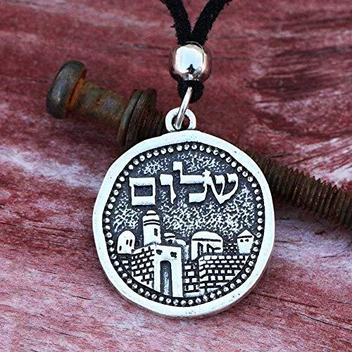 Yiffshunl Necklace Vintage Necklace Men Jerusalem Necklace Antique Silver Architecture Judaica Shalom Pendant Israel Jewelry Neklace for Women