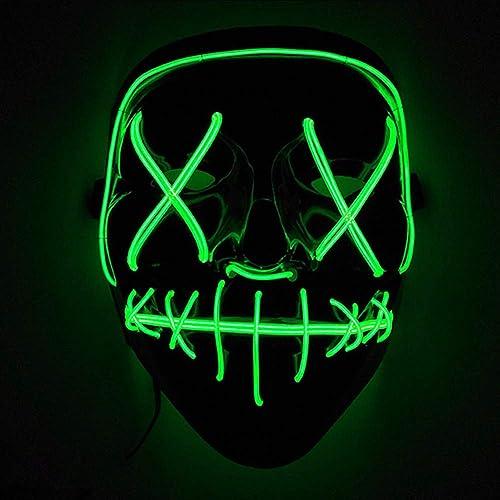 Immoch Halloween LED Máscaras Adultos LED Mask para la Fiesta de Disfraces, la Navidad, Cosplay Grimace Festival Party Show