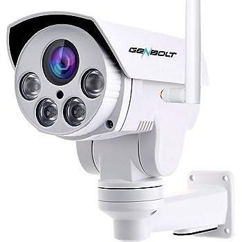 防犯カメラ ワイヤレス 屋外 - GENBOLT 4倍光学ズーム 監視カメラ 1080P AI 人体検知 IP ネットワークカメラ ONVIF 200万画素, 無線 回転 PTZ ,プライバシー保護,IP66防水 遠隔監視 暗視撮影 動体検知警報,Eメールで画像送信,Micro SDカード録画対応(32GB内蔵,最大128GB),ARRAY赤外線LED搭載 40mの夜間視界,1080P レンズ,5dBi アンテナ,耐久性のあるケーシング,日本語対応する無料APP, PSE認証 & 技適認証,Instagramで人気1000 以上,30日間返金保証, 無期限技術サポート【2020WiFi強化版】
