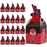 Qemsele Cajas De Fiesta Bolsas de cumpleaños, 20Pcs Regalo Cajas, Cajas de Caramelo Tema Reutilizable Bolsas de Fiesta Bolsas para cumpleaños niños la Fiesta favorece la Bolsa Fiesta (Spiderman)