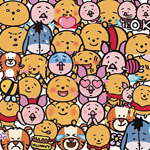 YZFCL Pooh oso etiqueta engomada maleta portátil maleta etiqueta de dibujos animados lindo teléfono móvil