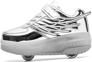 YongerYong Garçons Fille de LED Chaussures à roulettes de Skateboard Clignotantes Chaussure de Sport avec Rouleau Multispo...