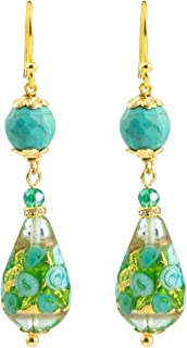 Gold Plated Venice Murano Turquoise Bed of Roses Glass Teardrop Bead Dangle Hook Earrings
