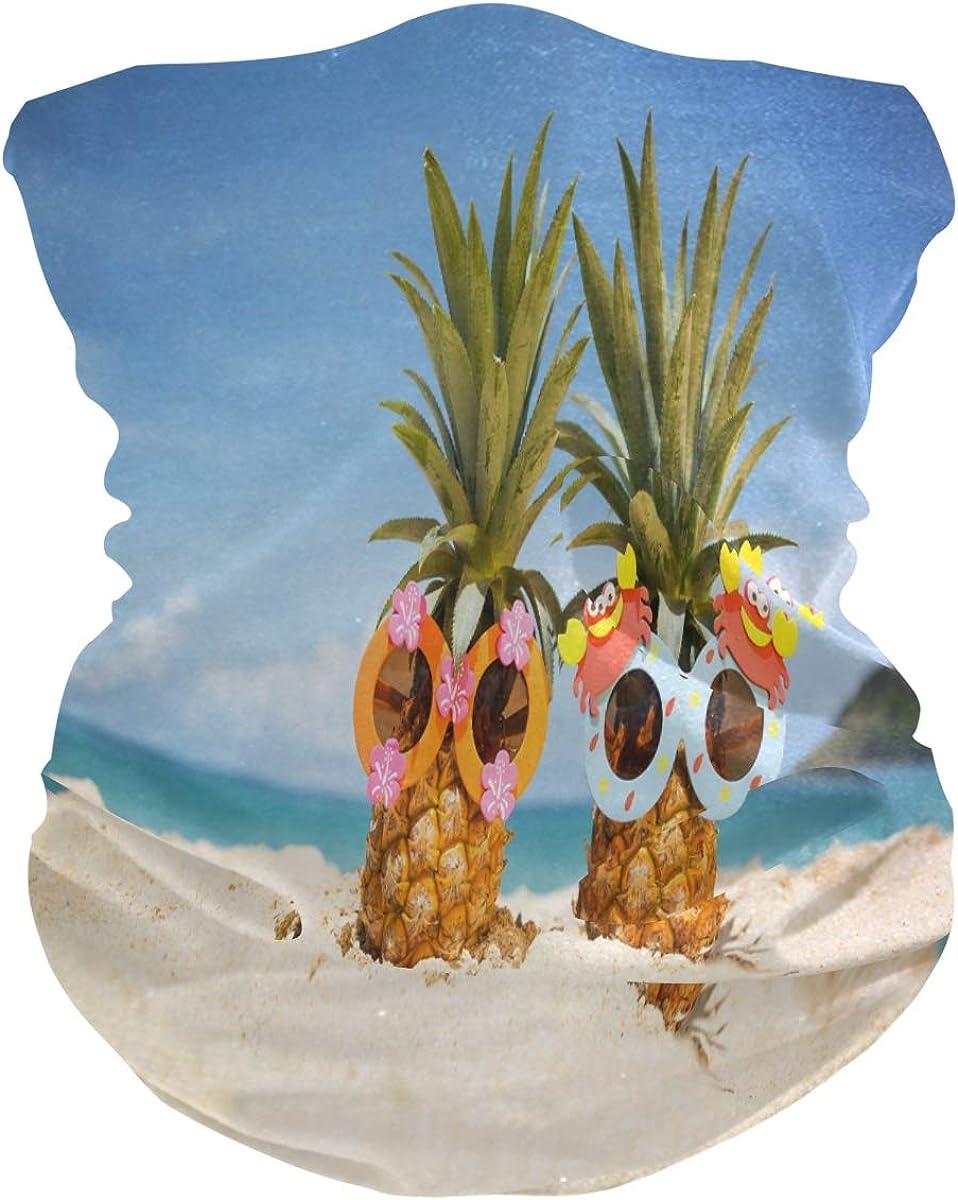 Face Scarf Bandana Neck Gaiter Pineapple On Beach Headband Headwear for Cycling Fishing Hiking Camping