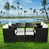 bigzzia 9PCS Rattan Chair Garden Furniture Set Outdoor Furniture With A Coffee Table 4 Comfortable Single Chairs