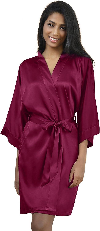 AW Womens Satin Robe Short Kimono Robe VNeck Soft Bathrobe Sleepwear Solid color, Burgundy S