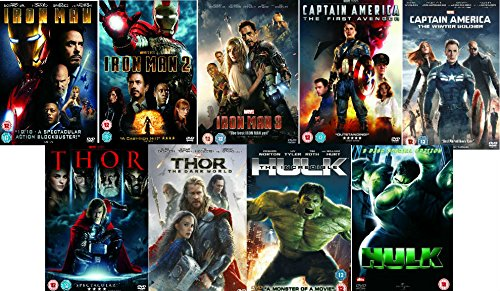 Avengers Ultimate Marvel Comic Heroes All 9 Movies DVD Complete Collection - Iron Man 1, Iron Man 2, Iron Man 3, Captain America : The First Avenger, Captain America: Winter Soldier, Thor 1, Thor 2: The Dark World, Hulk (Eric Bana), Incredible Hulk (Edward Norton) + Extras