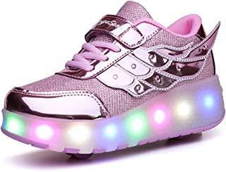 Ufatansy Uforme Kids Wheelies Lightweight Fashion Sneakers LED Light Up Shoes Single Wheel Double Wheels Roller Skate Shoes Size: 6 Big Kid