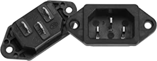 AMAZECO Screw Mount 3 Pins IEC320 C14 Inlet Power Plug Socket AC 250V 10A Black Pack of 2