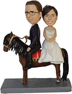 Convierta sus selfies en bobblehead pareja montando manguera pastel de bodas topper bobblehead personalizado mr & mrs past...