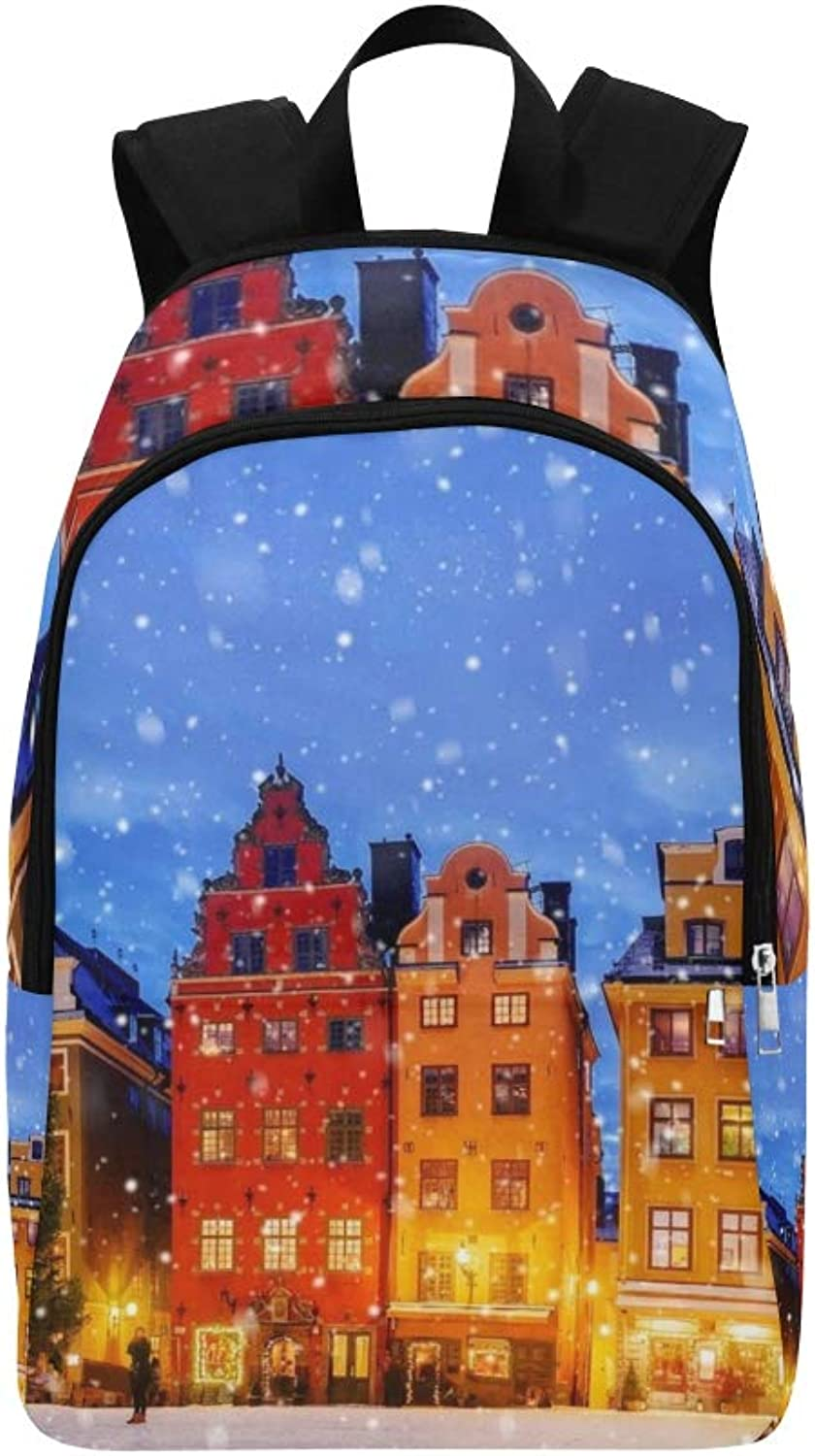 Christmas Holm Sweden Casual Daypack Travel Bag College School Backpack for Mens and Women
