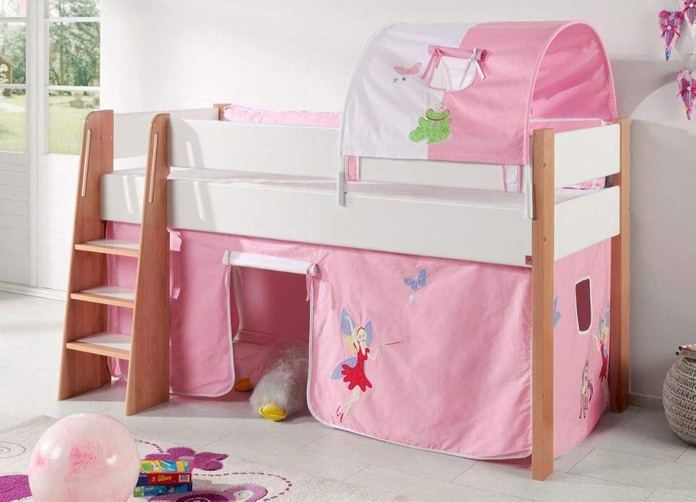 Froschknig24 Hochbett SAM 2 Kinderbett Spielbett halbhohes Bett Buche Wei Stoff Prinzessin, Matratze ohne