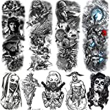 Rejaski 9 Sheets Patriotic American Soldier Full Arm Temporary Tattoo Sleeve For Men Women Army Navy Air Force Military 3D USA Flag Pride Temporary Tatoos Face Fake Tattoos Stickers Paper War Peace