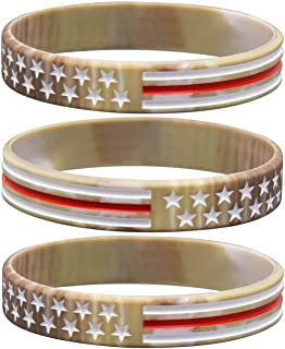 Sainstone Camouflage Army Rubber Bracelets, Military Silicone Wristbands with American USA Flag in Army Green and Desert Camo for Army Party Favors, American Patriots, Army Sport Fans