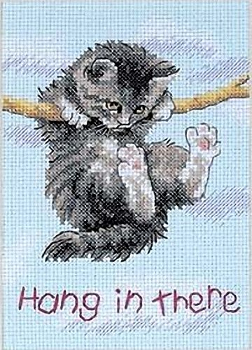 DIMENSIONS Hang in There Cat Counted Cross Stitch Kit, 14 Count Light...