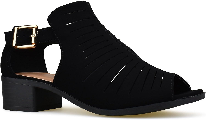 Premier Standard kvinnor kvinnor kvinnor Strappy Open Toe hög klack - Sexy Stacked trä Sandal - Vegan läder Cutout skor  bra priser
