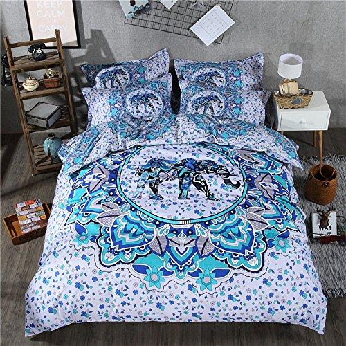 Funda nórdica con fundas de almohada Azul Blanco Mandala Elephant Boho Diseño exótico de patrones de edredón Conjunto de cama reversible Mandala (150x200cm)