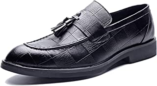 Sygjal Men's Fashion Oxford Casual Tassel Comfortable And Soft With One Foot Pedal Formal Shoes Black (Color : Black, Size : 46 EU)