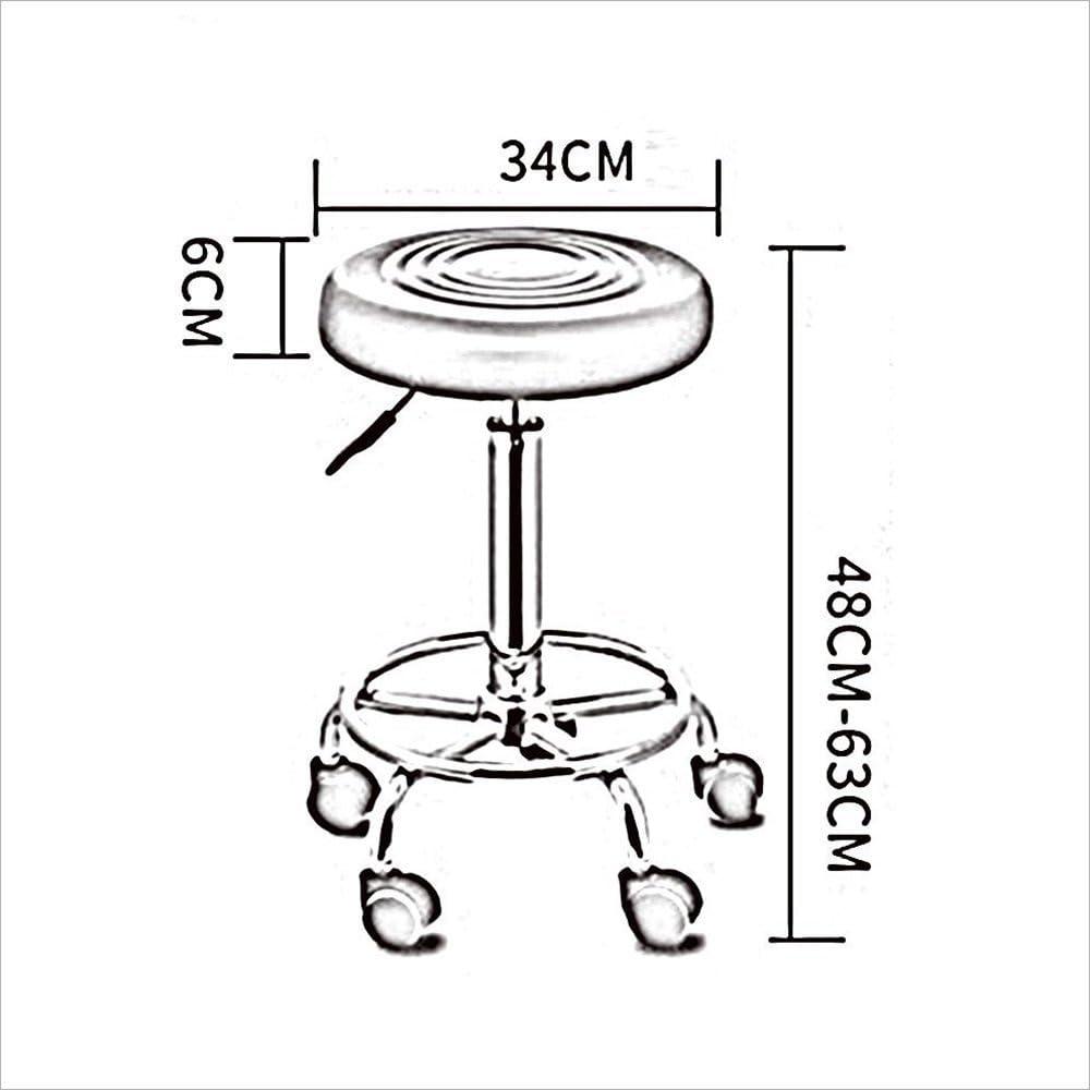 XIAOYAN 360 ° Tabouret Pivotant Chaise Bureau Réglable Chaise Pivotante 5 Roulettes Rouleau Travail Cosmétique Tabouret (Couleur : Black) Red