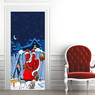 KGKBH Adesivo per porta carta da parati 3D Cartone animato, Babbo Natale, Natale, vacanze 95x215cm Decorazione da parete p...