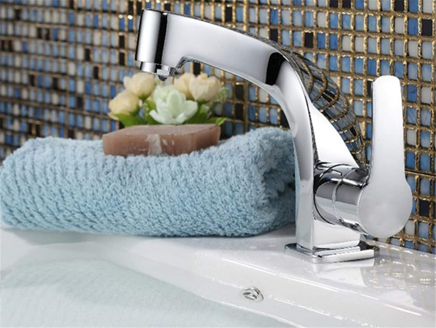 Faucet Modern Luxuryfashionable Tap Bathroom Chromed Mixer Single Handle Single Hole Surface Mounted Bathroom Sink Faucet