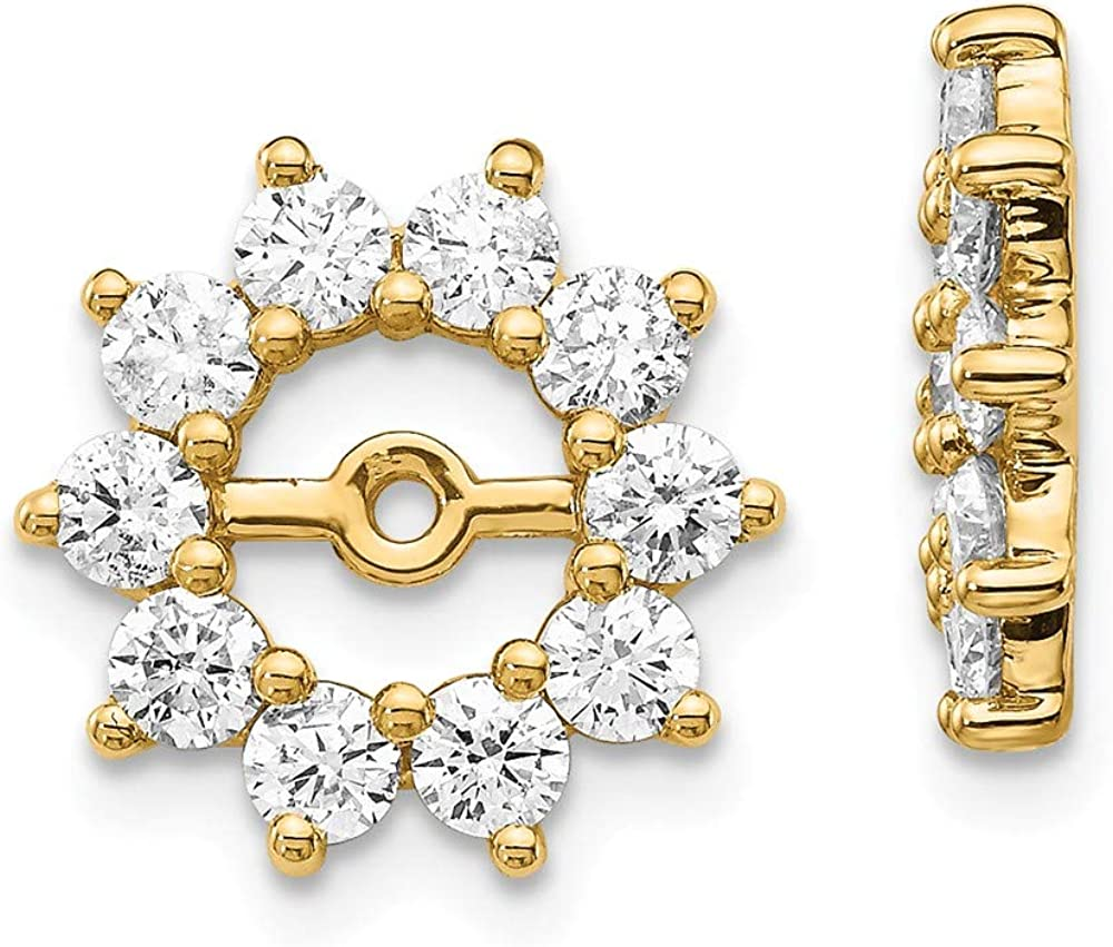 Solid 14k Yellow Gold Unique Diamond Earring Jacket Mountings 13mm