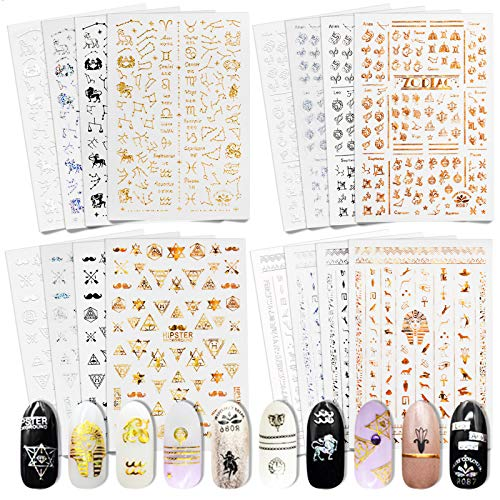 Gold Star Nail Stickers, Zodiac Nail Decal and Charms Kit for Acrylic Nail Art, Mini Universe Moon Rhinestones Professional Designer Old English Letters Assecories Self Adhesive Sheets Horoscope Gifts